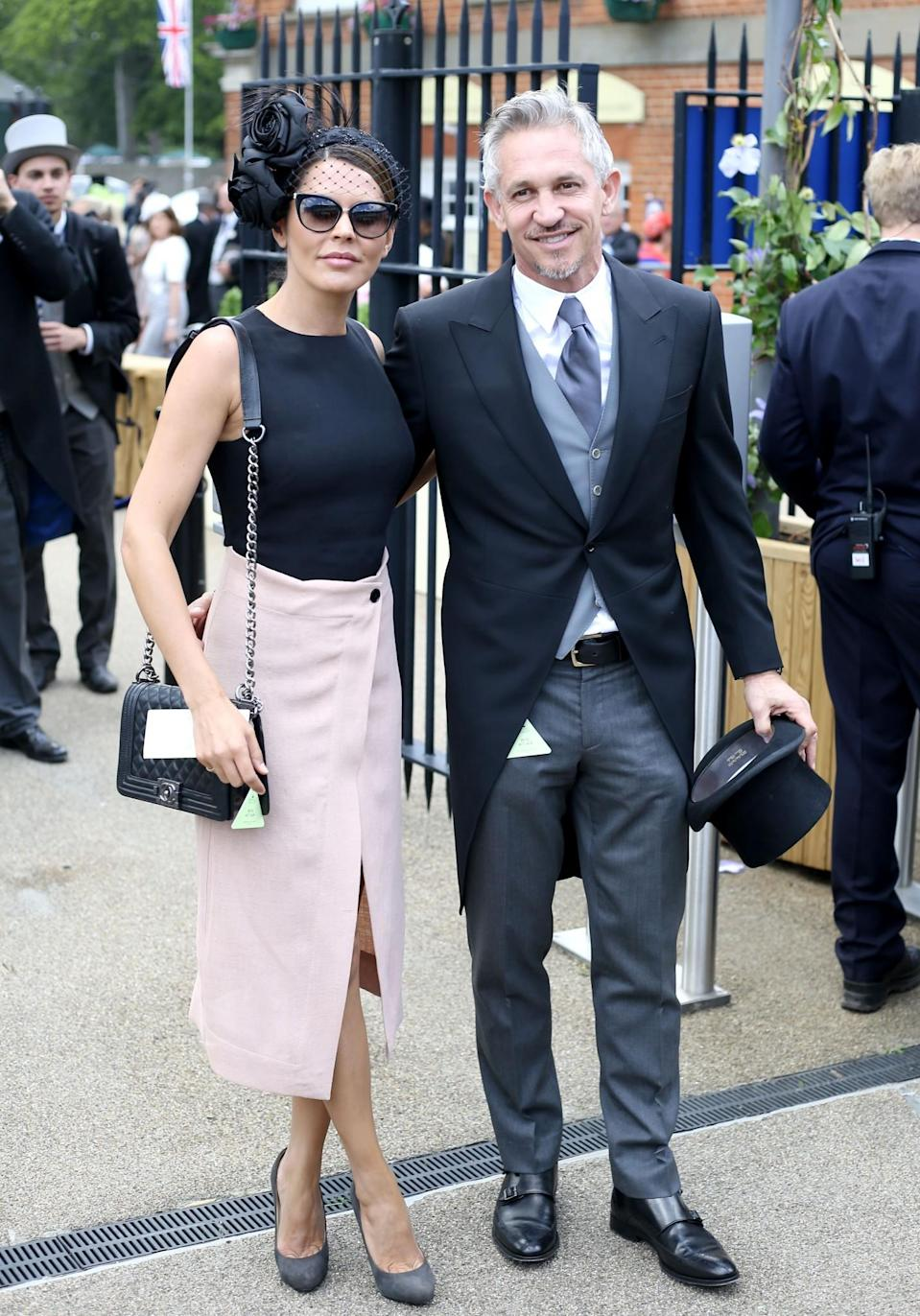 <p>Gary stayed true to the Ascot suit in 2015 while Danielle opted for a pale pink slitted skirt.<br><i>[Photo: PA]</i> </p>