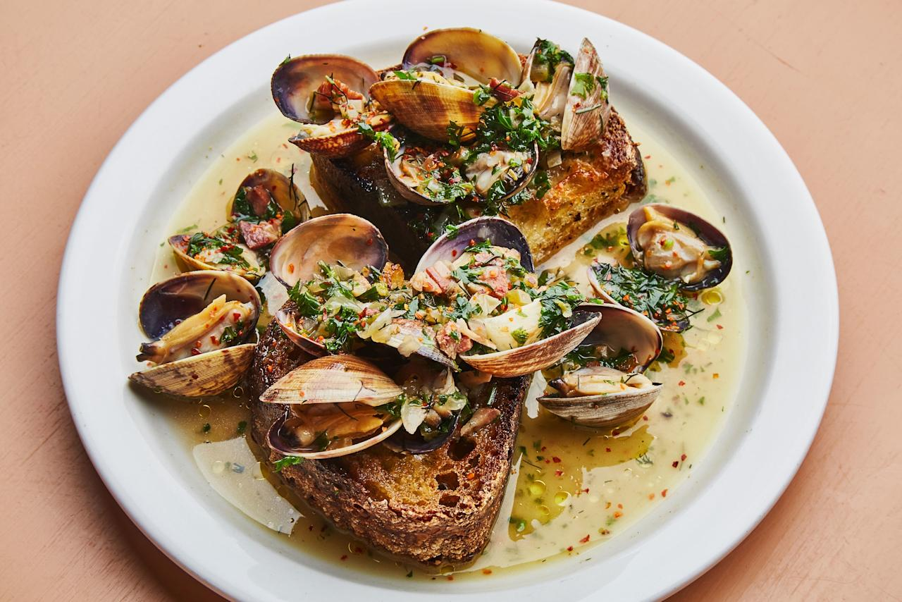 "Shellfish and pork are a power duo. The salty-sweet pancetta soffritto is the backbone of this clam toast (a kitchen favorite during tastings). <a rel=""nofollow"" href=""https://www.epicurious.com/recipes/food/views/clam-toasts-with-pancetta?mbid=synd_yahoo_rss"">See recipe.</a>"