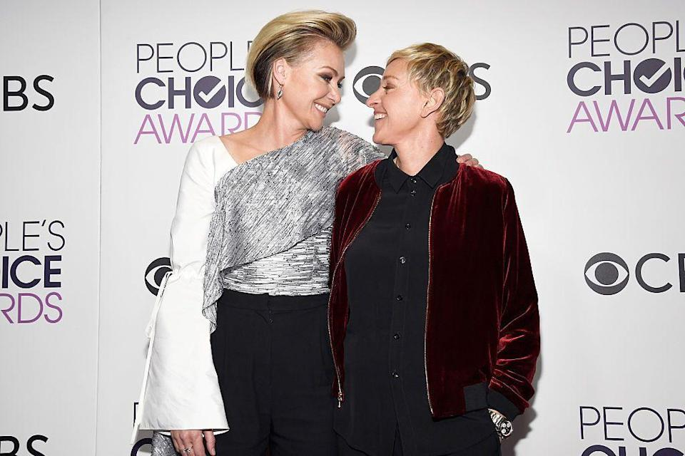 """<p><strong>Age gap: </strong>15 years</p><p>Ellen and Portia have <a href=""""https://www.goodhousekeeping.com/life/entertainment/a26947106/who-is-ellen-degeneres-wife-portia-de-rossi/"""" rel=""""nofollow noopener"""" target=""""_blank"""" data-ylk=""""slk:been together since 2004"""" class=""""link rapid-noclick-resp"""">been together since 2004</a> and said """"I do"""" in 2008 after California's same-sex marriage ban was lifted. """"It's the first time that I've known in every cell of my being that I'm with somebody for the rest of my life,"""" Ellen told <a href=""""http://people.com/archive/cover-story-ellen-at-home-at-ease-vol-64-no-20/"""" rel=""""nofollow noopener"""" target=""""_blank"""" data-ylk=""""slk:People"""" class=""""link rapid-noclick-resp""""><em>People</em></a>.</p>"""
