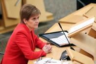 Scottish First Minister Sturgeon speaks at parliament in Edinburgh