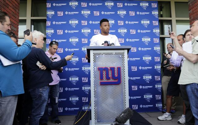 New York Giants running back Saquon Barkley speaks at a news conference during NFL football rookie camp Friday, May 11, 2018, in East Rutherford, N.J. (AP Photo/Frank Franklin II)