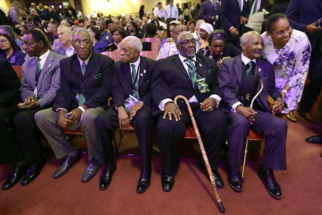 "<p>Five men who took part in the Memphis sanitation workers strike in 1968 wait for a ceremony to begin at the Mason Temple of the Church of God in Christ Tuesday, April 3, 2018, in Memphis, Tenn. From left are Cleophus Smith, Ozell Eual, Elmore Nickleberry, Baxter Richard Leach, and Rev. Leslie R. Moore. The church is where Rev. Martin Luther King Jr. delivered his final speech, which contained the phrase, ""I've been to the mountaintop,"" on April 3, 1968, the night before he was assassinated. King was in Memphis to support the striking workers. (Photo: Mark Humphrey/AP) </p>"