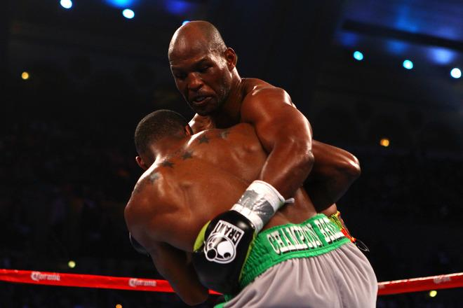 ATLANTIC CITY, NJ - APRIL 28:  Bernard Hopkins (black trunks) gets tied up with Chad Dawson (grey trunks) during their WBC & Ring Magazine Light Heavyweight Title fight at Boardwalk Hall Arena on April 28, 2012 in Atlantic City, New Jersey.  (Photo by Al Bello/Getty Images)