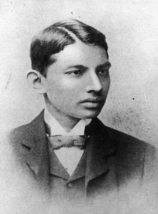 1887: Indian thinker, statesman and nationalist leader Mahatma Gandhi (Mohandas Karamchand Gandhi, 1869 - 1948), as a law student. (Photo by Henry Guttmann Collection/Hulton Archive/Getty Images)