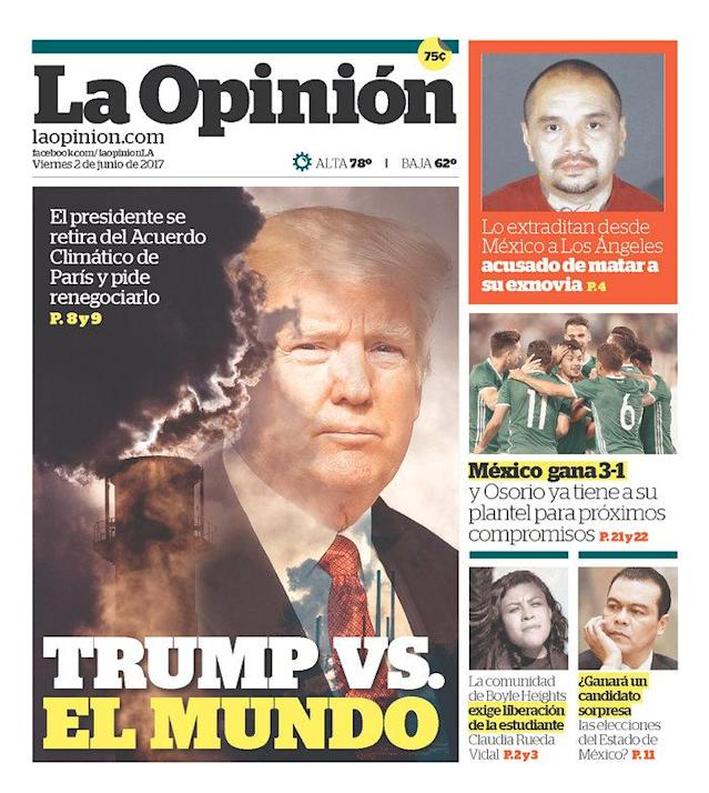 "<p>""La Opinión,"" published in Los Angeles, Calif. (Newseum) </p>"