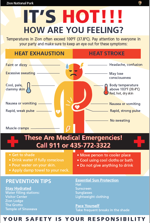 Zion National Park has shared heat safety infographics as temperatures spike across the West.