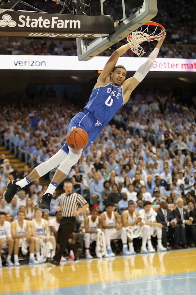 <p>There's little to pick apart about Tatum's game, as the freshman has adjusted extremely well to a loaded Blue Devils team after missing some time early with a foot injury. He's 6-foot-8, 205 pounds and scores from anywhere, with a mid-range game that will flow nicely to the next level. Tatum knows how to use his size, and his 16 ppg and 7.3 rpg aren't too shabby, either. </p>