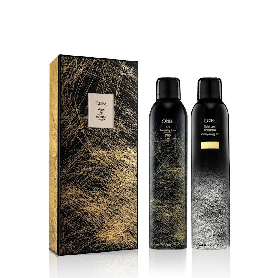 """Oribe Dry Texturizing Spray really needs no introduction, but for the unfamiliar, it's the secret to undone, effortless waves in a can. The brand's dry shampoo is just as good, and this set, which includes full sizes of both, is a total steal. $96, Nordstrom. <a href=""""https://www.nordstrom.com/s/oribe-full-size-gold-lust-dry-shampoo-dry-texturizing-spray-set-96-value/5580707?origin=category-personalizedsort&breadcrumb=Home%2FAnniversary%20Sale%2FBeauty%20Exclusives&color=none"""" rel=""""nofollow noopener"""" target=""""_blank"""" data-ylk=""""slk:Get it now!"""" class=""""link rapid-noclick-resp"""">Get it now!</a>"""