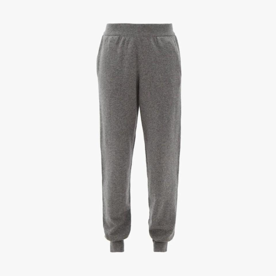 """$1490, MATCHESFASHION.COM. <a href=""""https://www.matchesfashion.com/us/products/The-Row-Ardo-cashmere-track-pants-1368378"""" rel=""""nofollow noopener"""" target=""""_blank"""" data-ylk=""""slk:Get it now!"""" class=""""link rapid-noclick-resp"""">Get it now!</a>"""