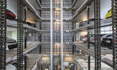 With eight parking spaces per floor, the system can park 208 vehicles for the 68 residences in the development.