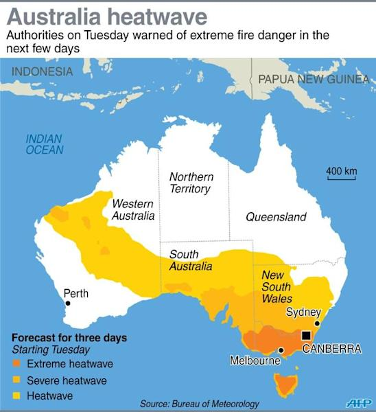 Map showing three-day heatwave forecast for Australia starting Tuesday