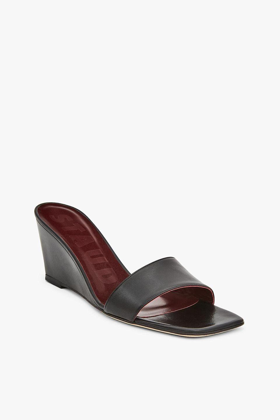 """<br> <br> <strong>Staud</strong> Billie Wedge, $, available at <a href=""""https://go.skimresources.com/?id=30283X879131&url=https%3A%2F%2Fstaud.clothing%2Fproducts%2Fbillie-wedge-black-1%3Fvariant%3D31210518708305"""" rel=""""nofollow noopener"""" target=""""_blank"""" data-ylk=""""slk:Staud"""" class=""""link rapid-noclick-resp"""">Staud</a>"""