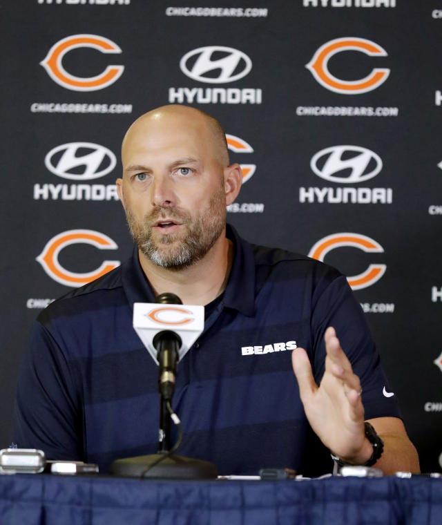FILE - In this July 19, 2018, file photo, Chicago Bears head coach Matt Nagy speaks at a news conference during an NFL football training camp in Bourbonnais, Ill. (AP Photo/Nam Y. Huh, File)