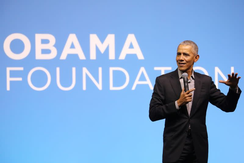 Former U.S. President Barack Obama speaks during an Obama Foundation event in Kuala Lumpur