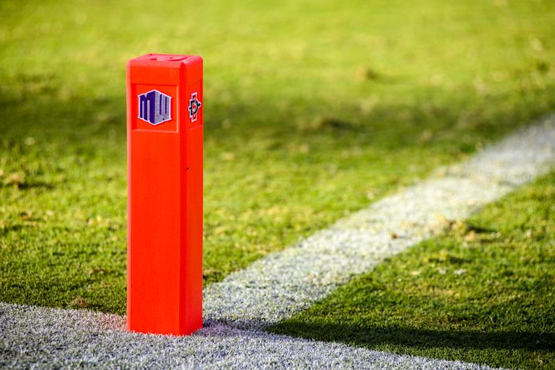 SAN DIEGO, CA - SEPTEMBER 03: End zone markers with logos of the Mountain West and of the San Diego State Aztecs used during the game against the New Hampshire Wildcats at Qualcomm Stadium on September 3, 2016 in San Diego, California. (Photo by Kent Horner/Getty Images)