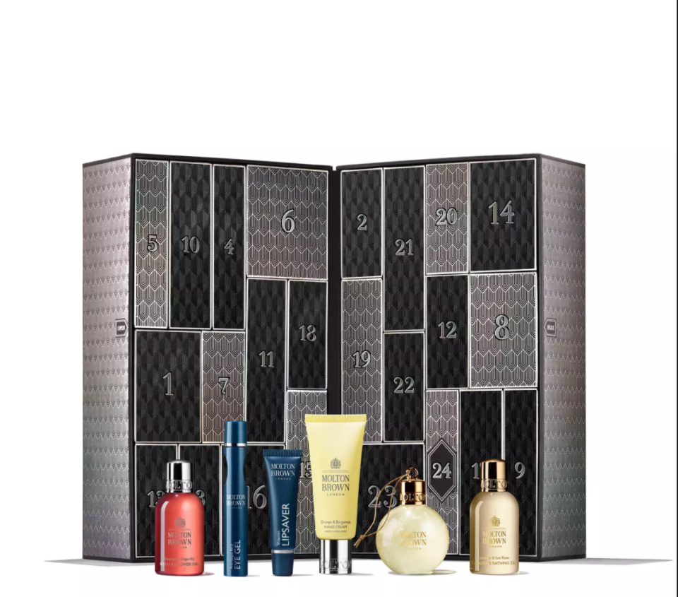 """<p><strong>molton brown</strong></p><p>moltonbrown.com</p><p><strong>$44.00</strong></p><p><a href=""""https://go.redirectingat.com?id=74968X1596630&url=https%3A%2F%2Fwww.moltonbrown.com%2Fstore%2Fgifts%2Fholiday-gift-sets%2Fmolton-brown-advent-calendar%2FMBC2021&sref=https%3A%2F%2Fwww.townandcountrymag.com%2Fstyle%2Fbeauty-products%2Fnews%2Fg2919%2Fbeauty-advent-calendars%2F"""" rel=""""nofollow noopener"""" target=""""_blank"""" data-ylk=""""slk:Shop Now"""" class=""""link rapid-noclick-resp"""">Shop Now</a></p><p><strong>Best For: </strong>The gift recipient who always smells so good it's bananas.</p><p><strong>What's Inside: </strong>Shower gels, body lotions, hand creams, perfumes, bath salts, hand soaps, and more in Molton Brown's beloved (and <a href=""""https://www.townandcountrymag.com/style/beauty-products/g28567503/queen-elizabeth-favorite-beauty-products/"""" rel=""""nofollow noopener"""" target=""""_blank"""" data-ylk=""""slk:royal-approved"""" class=""""link rapid-noclick-resp"""">royal-approved</a>) scents.</p><p><strong>MORE</strong>: <a href=""""https://www.townandcountrymag.com/style/beauty-products/g31943770/best-beauty-tools-devices/"""" rel=""""nofollow noopener"""" target=""""_blank"""" data-ylk=""""slk:12 Beauty Tools to Help You Self-Care From Home"""" class=""""link rapid-noclick-resp"""">12 Beauty Tools to Help You Self-Care From Home</a></p>"""