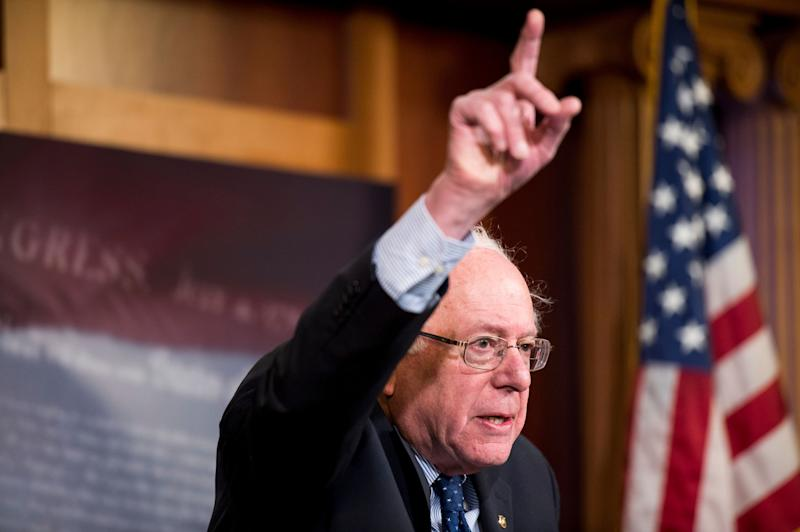 Sen. Bernie Sanders (I-Vt.) holds a news conference on the budget on Jan. 16, 2015.