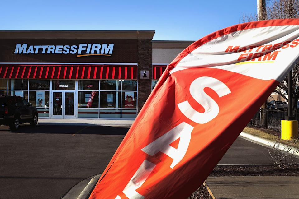Mattresses are offered for sale at a Mattress Firm store on Dec. 6, 2017, in Chicago.