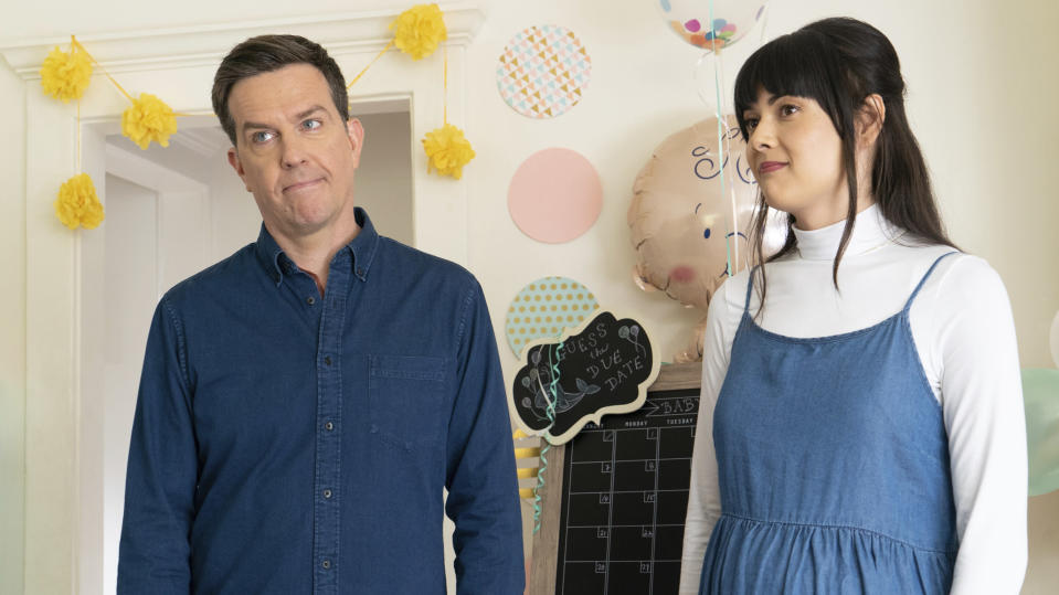 "This image released by Bleecker Street shows Ed Helms, left, and Patti Harrison in a scene from ""Together Together."" (Tiffany Roohani/Bleecker Street via AP)"