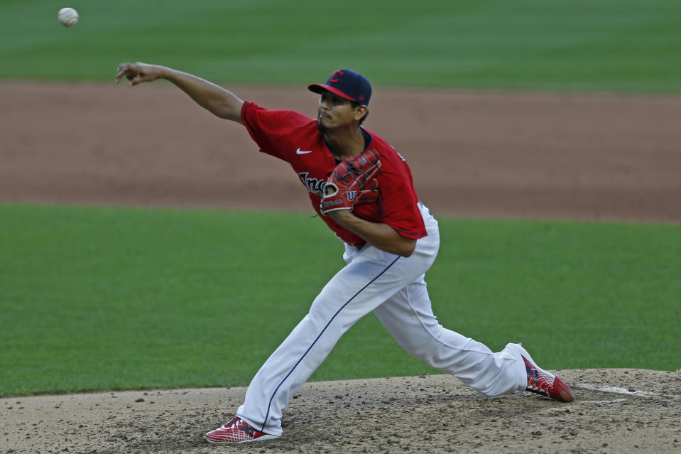 Cleveland Indians starting pitcher Carlos Carrasco delivers during the fifth inning of a baseball game against the Cincinnati Reds at Progressive Field, Thursday, Aug. 6, 2020, in Cleveland. (AP Photo/David Dermer)