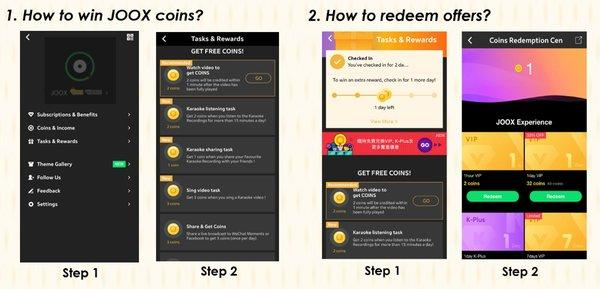 Introducing the JOOX Coins Redemption Center, with free VIP membership, K-Plus service and other amazing offers!
