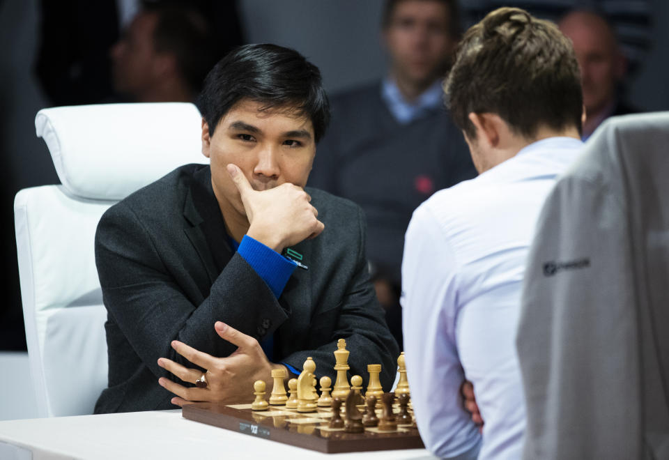 FILE PHOTO: Wesley So, left and Magnus Carlsen meet in the first final of FIDE World Fischer Random Chess Championship 2019, at Baerum in Norway Thursday Oct. 31, 2019. (Berit Roald, NTB scanpix via AP)