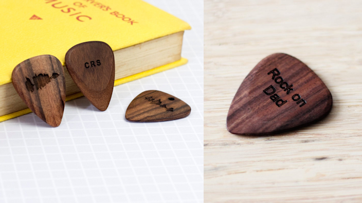 Best personalized gifts 2020: NewtonAndTheApple Personalized Wooden Plectrum