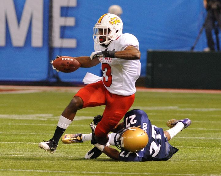 ST. PETERSBURG, FL - JANUARY 21: Wide receiver Tim Benford #3  of Tennessee Tech University Golden Eagles rushes upfield during the 87th annual East-West Shrine game January 21, 2012 at Tropicana Field in St. Petersburg, Florida. (Photo by Al Messerschmidt/Getty Images)