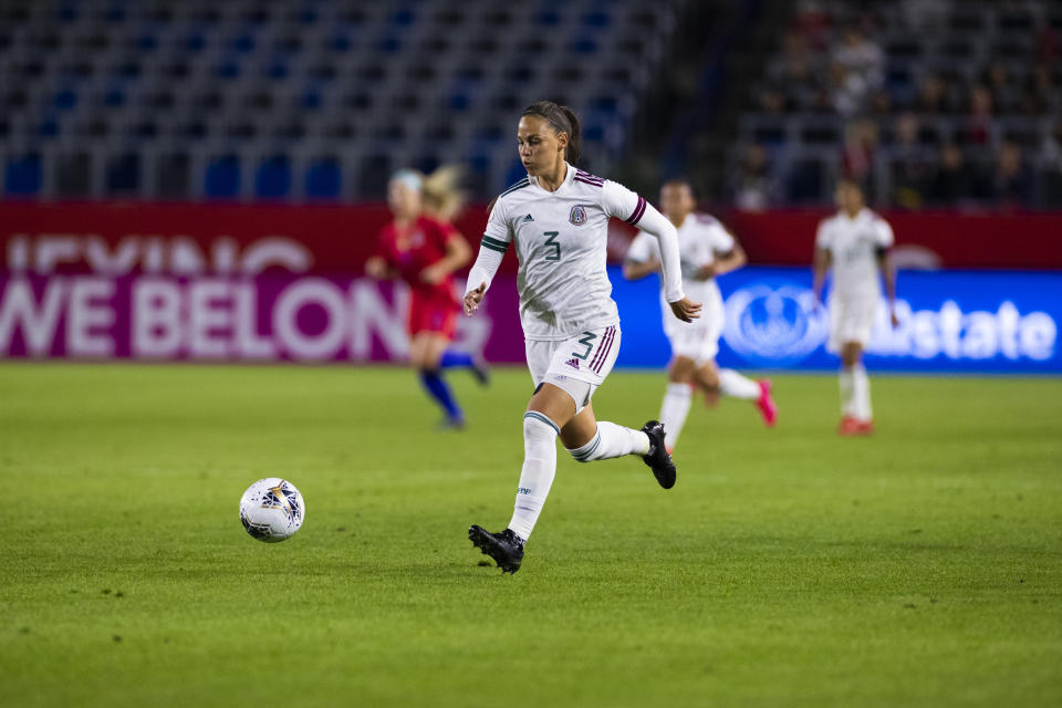 LOS ANGELES, CA - FEBRUARY 07: Mexico defender Janelly Farias (3) dribbles the ball during the CONCACAF Womens Olympic Qualifying Semifinal against Mexico on Friday, Feb. 7, 2020 at Dignity Health Sports Park in Carson, Calif. (Photo by Ric Tapia/Icon Sportswire via Getty Images)
