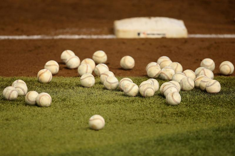 PHOENIX, ARIZONA - JULY 03: Detail of baseballs on the field as the Arizona Diamondbacks participate in summer workouts ahead of the abbreviated MLB season at Chase Field on July 03, 2020 in Phoenix, Arizona. The 2020 season, which has been postponed since March due to the COVID-19 pandemic, is set to start later this month. (Photo by Christian Petersen/Getty Images)
