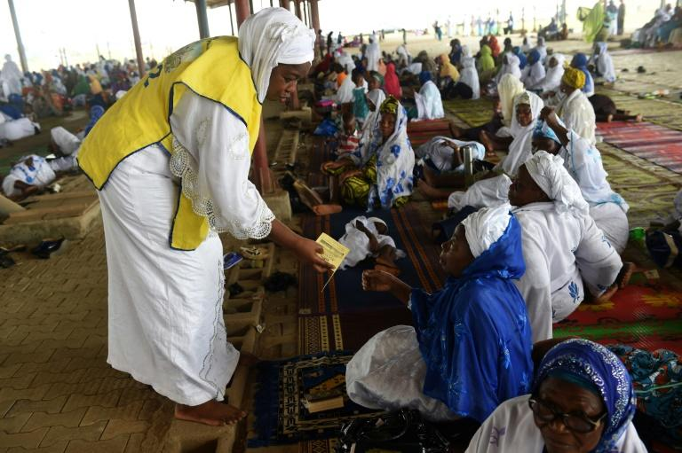 Worshippers at Sunday prayer at the Nasrul-lahi-li Fathi Society of Nigeria, where Islam is going evangelical