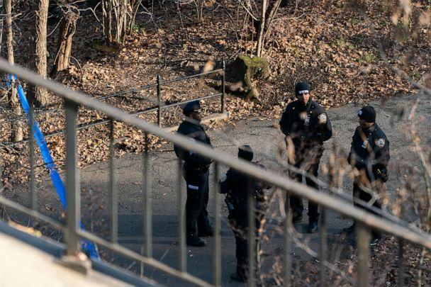 PHOTO: Police officers patrol the entrance of Morningside Park in New York City on Dec. 12, 2019. Barnard College student Tessa Majors, 18, was stabbed to death in the park on the evening of Dec. 11, 2019. (Jeenah Moon/Getty Images)