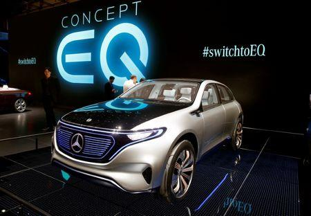 A Mercedes-Benz Concept EQ car is seen during the 87th International Motor Show at Palexpo in Geneva