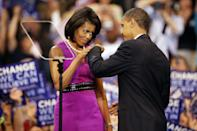 <p>The couple fist bumped in 2008 at a campaign rally after Barack became the official nominee for the Democratic party. </p>
