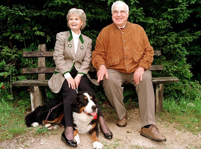 "<p>German Chancellor Helmut Kohl and his wife Hannelore pose with dog ""Felix"" for photographers, during their summer holidays near the town of St. Gilgen some 30 kilometers east of Salzburg, August 16, 1996. The Kohl's spend their holidays in St. Gilgen every summer for the last 26 years. (Reuters) </p>"