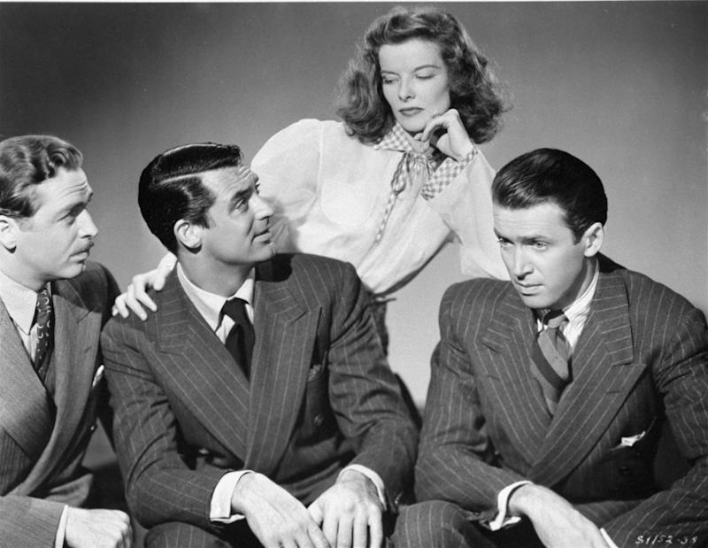 "FILE - In this 1940 publicity image originally provided by MGM, from left, John Howard, Cary Grant, Katharine Hepburn and Jimmy Stewart star in George Cukor's  screwball romance movie,""The Philadelphia Story. ""  (AP Photo/MGM)"