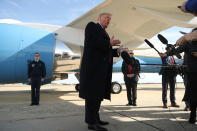 CORRECTS LOCATION TO ANDREWS AIR FORCE BASE - President Donald Trump talks to the media before boarding Air Force One at Andrews Air Force Base, Md., Saturday, Nov. 9, 2019. Trump is attending the NCAA college football game between Louisiana State University and Alabama in Tuscaloosa, Ala. (AP Photo/Andrew Harnik)