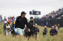 United States' Phil Mickelson walks along the 4th fairway during a practice round for the British Open Golf Championship at Royal St George's golf course Sandwich, England, Wednesday, July 14, 2021. The Open starts Thursday, July, 15. (AP Photo/Ian Walton)