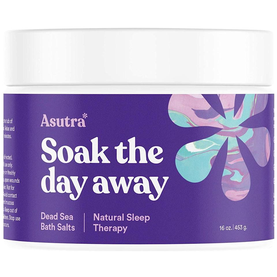 """<p>If the lavender in these <span>Asutra Dead Sea Bath Salts</span> ($25) isn't enough to help you <a href=""""https://www.popsugar.com/fitness/Does-Lavender-Help-You-Sleep-45244478"""" class=""""link rapid-noclick-resp"""" rel=""""nofollow noopener"""" target=""""_blank"""" data-ylk=""""slk:drift off to sleep"""">drift off to sleep</a>, you'll love the """"hypnotic and soothing"""" addition of rosemary and ylang ylang.</p>"""