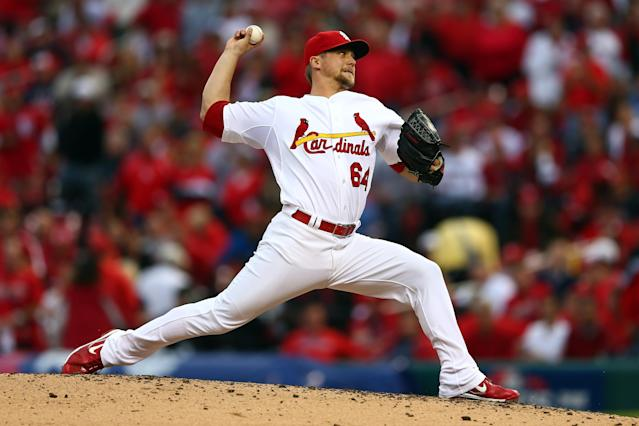 ST LOUIS, MO - OCTOBER 17: Trevor Rosenthal #64 of the St. Louis Cardinals pitches in the sixth inning against the San Francisco Giants in Game Three of the National League Championship Series at Busch Stadium on October 17, 2012 in St Louis, Missouri. (Photo by Elsa/Getty Images)