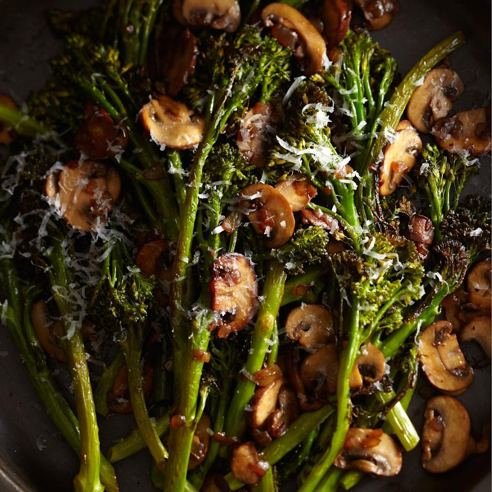 """This roasted broccolini tastes great at room temperature, so you can cook it ahead of time, or you can make the mushroom sauce while the vegetables are roasting. <a href=""""https://www.epicurious.com/recipes/food/views/roasted-broccolini-with-winey-mushrooms-51226810?mbid=synd_yahoo_rss"""" rel=""""nofollow noopener"""" target=""""_blank"""" data-ylk=""""slk:See recipe."""" class=""""link rapid-noclick-resp"""">See recipe.</a>"""