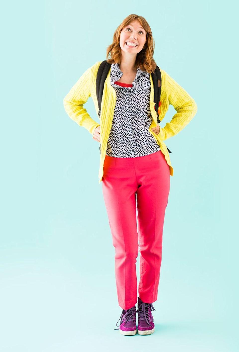 """<p>Kimmy Schmidt's penchant for yellow cardigans and pink pants makes her typical getup an instantly-recognizable costume. This one's an incredibly inexpensive option, and your teen can wear all of the items again.</p><p><strong>Get the tutorial at <a href=""""https://www.brit.co/diy-redhead-halloween-costumes/"""" rel=""""nofollow noopener"""" target=""""_blank"""" data-ylk=""""slk:Brit + Co"""" class=""""link rapid-noclick-resp"""">Brit + Co</a>.</strong></p><p><a class=""""link rapid-noclick-resp"""" href=""""https://www.amazon.com/Cardigans-Yellows-Sweaters/s?rh=n%3A1044612%2Cp_n_size_browse-vebin%3A2343364011&tag=syn-yahoo-20&ascsubtag=%5Bartid%7C10050.g.22118522%5Bsrc%7Cyahoo-us"""" rel=""""nofollow noopener"""" target=""""_blank"""" data-ylk=""""slk:SHOP YELLOW CARDIGANS"""">SHOP YELLOW CARDIGANS</a></p>"""