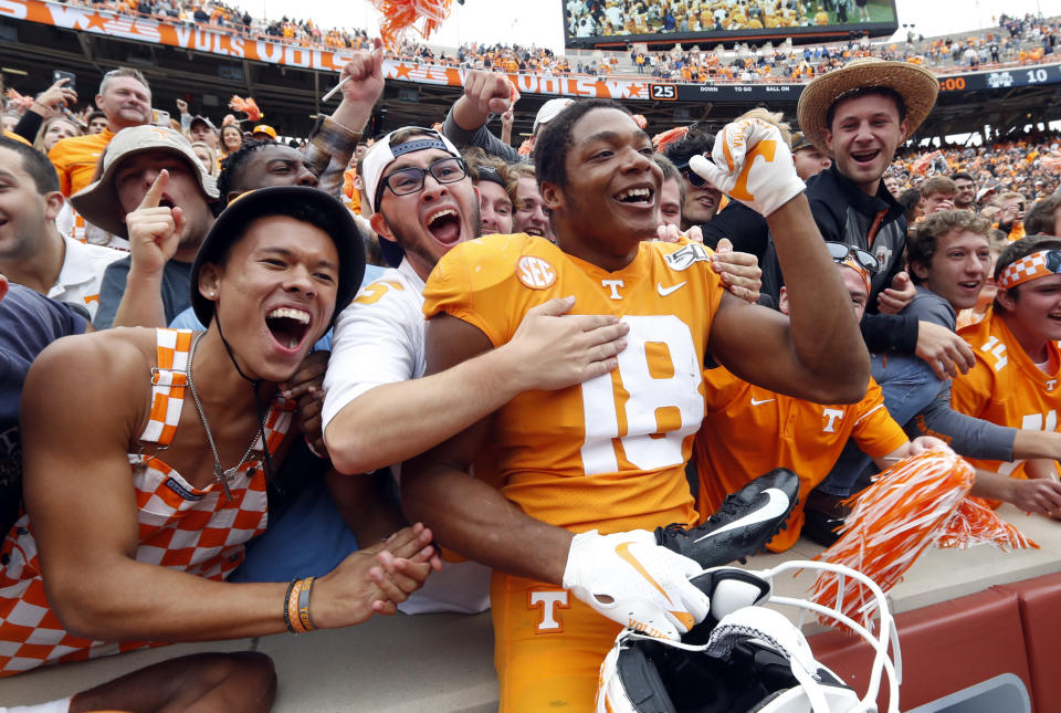 Tennessee defensive back Nigel Warrior (18) celebrates their 20-10 win over Mississippi State an NCAA college football game Saturday, Oct. 12, 2019, in Knoxville, Tenn. (AP Photo/Wade Payne)