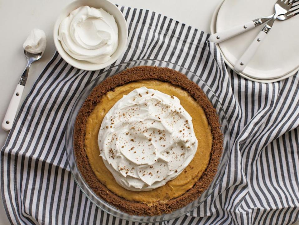 """<p>The only baking required in this pie is the crust. Instead of the usual egg-heavy filling, the pie uses gelatin for a silky smooth texture. Save yourself some oven space this Thanksgiving and use you fridge to make this perfect pumpkin pie. <b><a href=""""https://www.yahoo.com/food/no-bake-pumpkin-chiffon-cake-from-the-year-of-222638586.html"""" data-ylk=""""slk:Get the No-Bake Pumpkin Chiffon Pie recipe;outcm:mb_qualified_link;_E:mb_qualified_link;ct:story;"""" class=""""link rapid-noclick-resp yahoo-link"""">Get the No-Bake Pumpkin Chiffon Pie recipe</a></b>. (<i>Photo: Adrianna Adarme)</i></p>"""