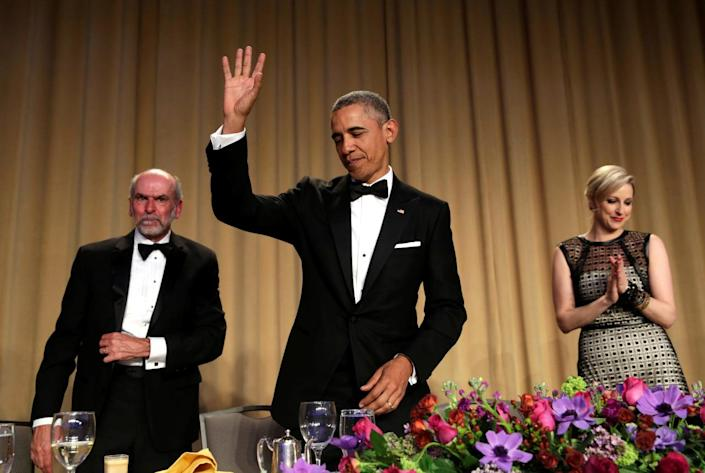 <p>President Obama at the White House Correspondents' Association Dinner in Washington, April 30. <i>(Photo: Yuri Gripas/Reuters)</i><br></p>