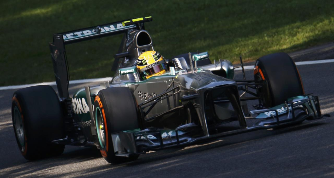 Mercedes Formula One driver Lewis Hamilton of Britain drives during the third practice session of the Italian F1 Grand Prix at the Monza circuit September 7, 2013. REUTERS/Stefano Rellandini (ITALY - Tags: SPORT MOTORSPORT F1)