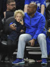 Byron Allen and his son Lucas Allen attend the basketball game between Los Angeles Clippers and Golden State Warriors during Game Six of Round One of the 2019 NBA Playoffs at Staples Center on April 26, 2019 in Los Angeles, California. (Photo by Kevork S. Djansezian/Getty Images)