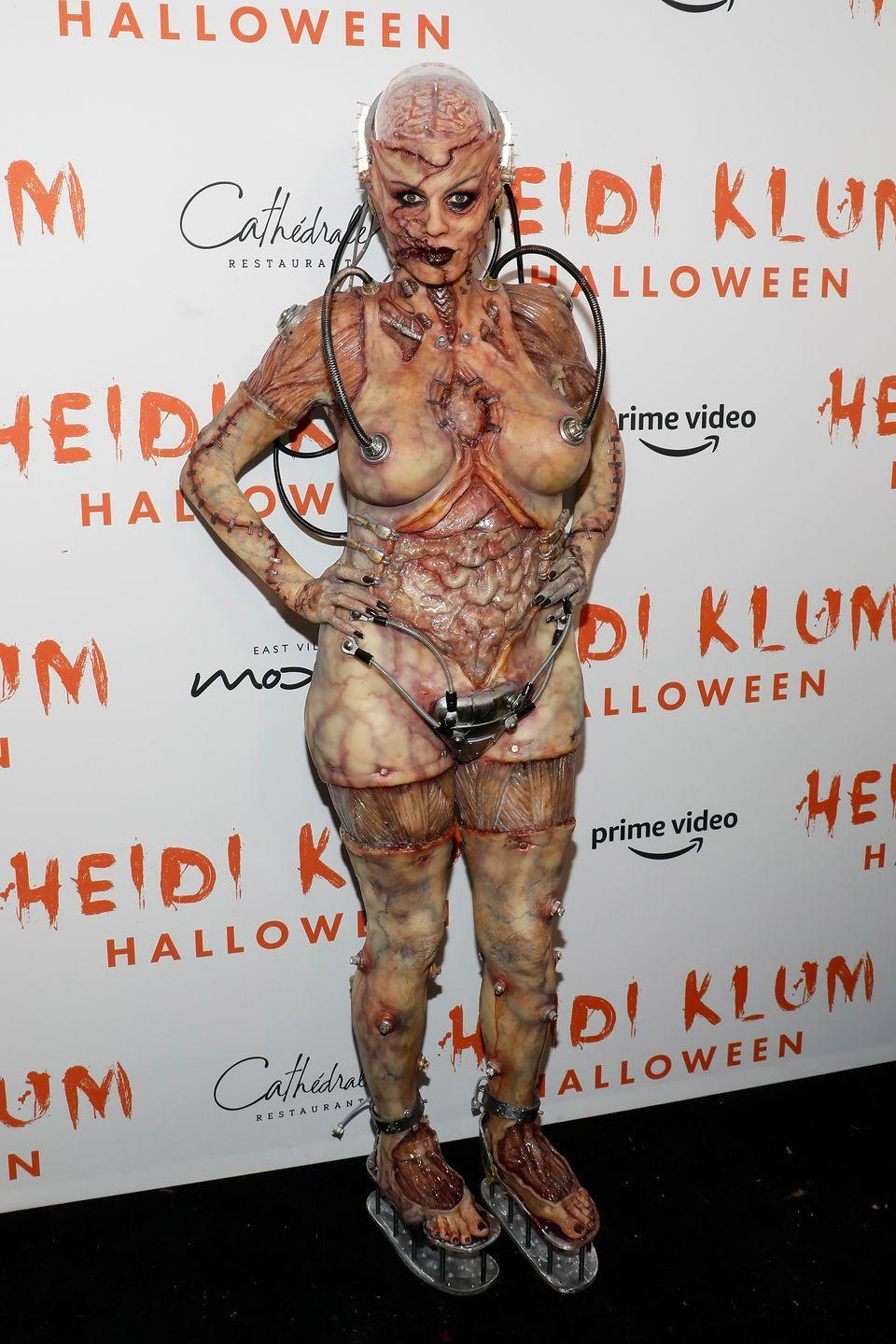 <p>The 46-year-old model stunned her guests dressed as a gruesome humanoid alien at her 20th Annual Halloween Bash in New York City. </p><p>The German star gave fans a sneak peek into her sitting in the make-up chair during being made up as the alien in front of a glass window in an Amazon store in the Big Apple prior to the event.</p><p>The costume featured prosthetics galore, fake blood, boob tubes and a strange metal thong-type contraption, naturally. </p>