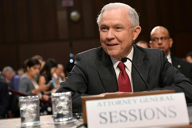 <p>Attorney General Jeff Sessions arrives to testify during a US Senate Select Committee on Intelligence hearing on Capitol Hill in Washington, D.C., June 13, 2017. (Photo: Saul Loeb/AFP/Getty Images) </p>