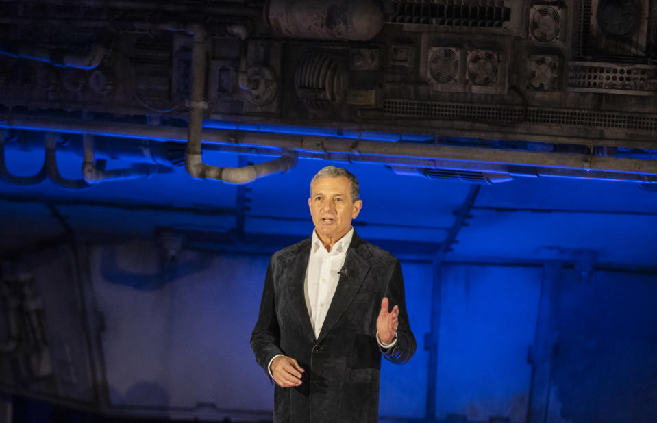 ANAHEIM, CA - MAY 29: Bob Iger, CEO of The Walt Disney Company, speaks in front of the Millennium Falcon during the Star Wars: Galaxy's Edge unveiling event at the Disneyland Resort in Anaheim, Calif., on May 29, 2019.(Allen J. Schaben/Los Angeles Times via Getty Images)